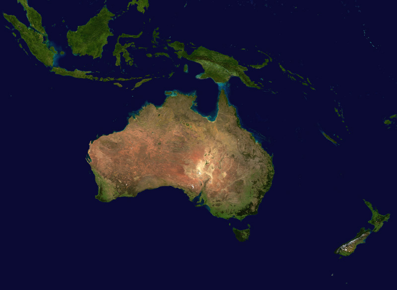 Map Of Australia From Space.Space Weather Monitors