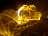 Solar flare pictured by TRACE (NASA)- Scientists have been measuring the frequency of solar flares