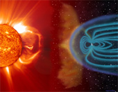 Blasts of particles and magnetic fields from the Sun impact the Earth's magnetosphere