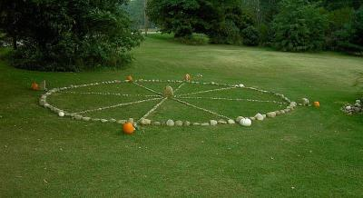 A medicine wheel constructed by teachers at Marcus Whitman High School in Rushville, New York