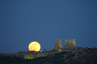 Moonrise, Cape Sounion, Greece