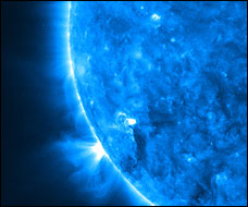 A close up of the Sun in extreme ultraviolet light taken by STEREO's Extreme Ultraviolet Imager.